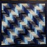 Blue Cascade Modern Quilt Handmade