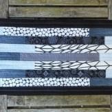 Gray Gothic Modern Quilt Table Runner Handmade