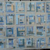Improv Blue Gray Gold Custom Modern Quilt Handmade