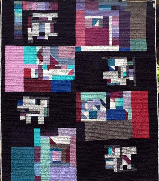 Wind Catcher back Modern Quilt Handmade