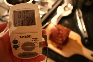 It's always good to make sure the center of your pork has hit the right temperature to kill any bacteria!
