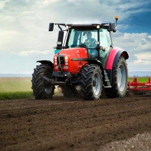 Farm equipment in field