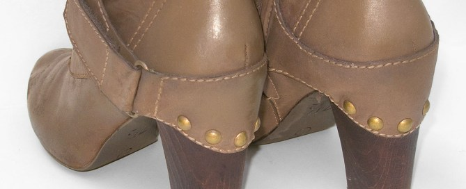 Most of the scuffs on the heels of the leather boots were removed