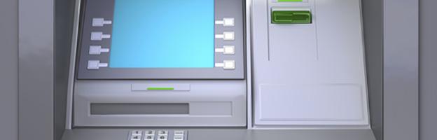 Vista parcial de um caixa eletrônico