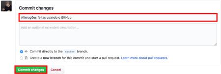 Campos de commit do GitHub