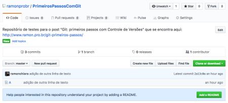 Tela de repositório criado no GitHub após o push