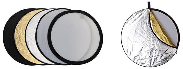 Reflector 5 en 1: blanco, plata, oro, traslúcido y negro