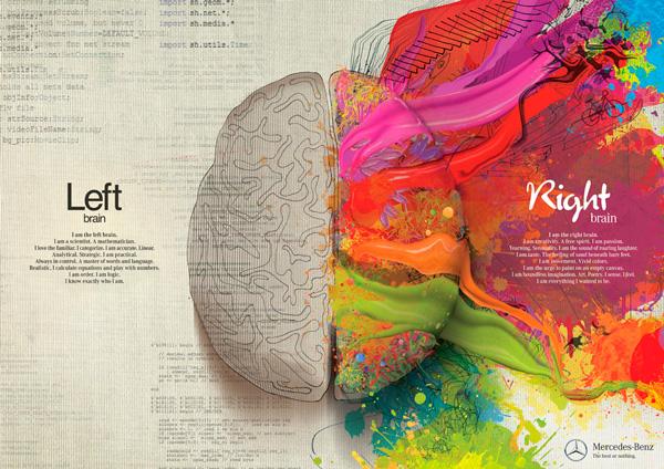 Conocido anuncio de coches Mercedes sobre los hemisferios izquierdo y derecho de nuestro cerebro