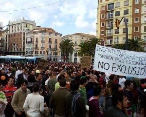 Manifestación-huelga de los informáticos en Málaga