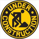 yellow construction sign circular