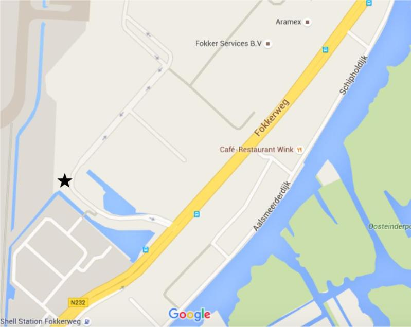 , Google Maps of the area of Schiphol-Oost/Oude Meer. Off the Aalmeerderdijk Road there is a tiny side road, Ten Pol. This leads to the autoroute, Fokkerweg. The star indicates where the memorial is; across from this is the security desk and just behind this is the field where Schiphol-Oost once was 03/04/2016 door Octavia Aronne (Unwanted souls, unwanted thoughts: Memorialization, Change, and Meaning of the Schiphol-Oost Detention Centre Fire)