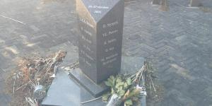 Left, Memorial at Schiphol-Oost. 03/04/2016 door Octavia Aronne (Unwanted souls, unwanted thoughts: Memorialization, Change, and Meaning of the Schiphol-Oost Detention Centre Fire)