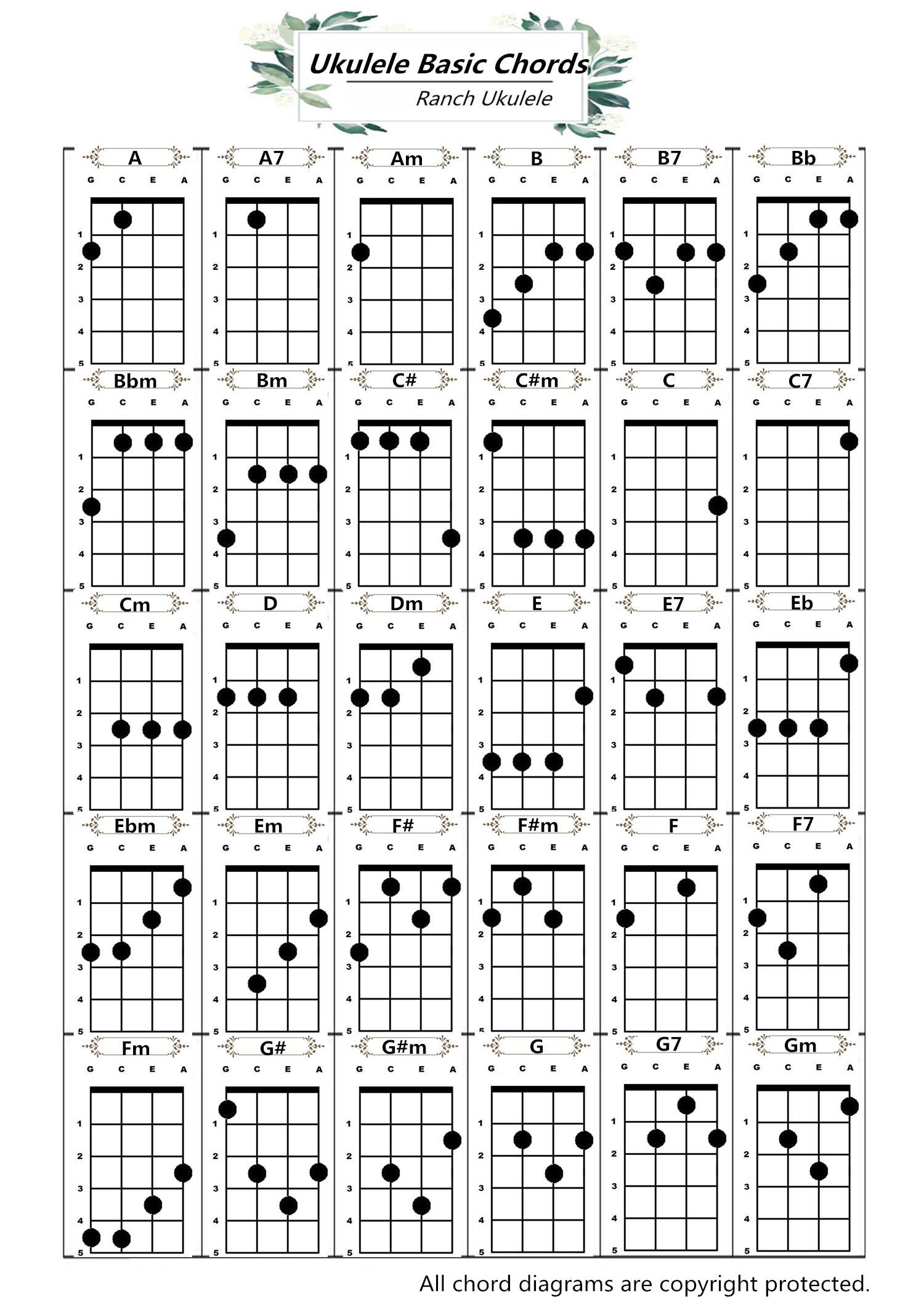 Ukulele Basic Chords Guitar Ukulele With Music