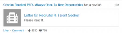 Linkedin new job letter for recruiter randieri