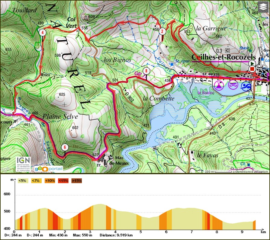Randonnée Monts d'Orb Ceilhes Le Col Vert 9 Km