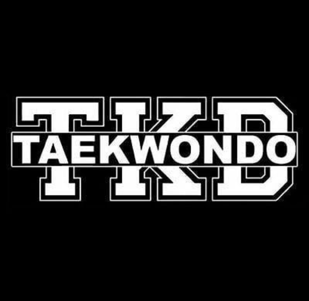 Image of a Taekwondo logo with large block TKD letters in the background