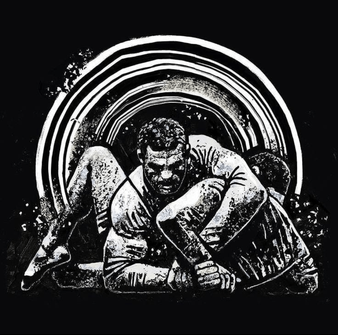 Drawing of one martial artist putting another martial artist into an arm bar