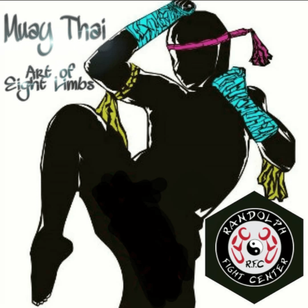 Drawing of martial artists in Muay Thai striking pose with RFC logo in lower right corner