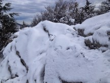 les rochers ont disparu sous la neige