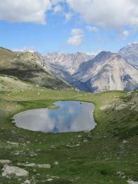 Le grand lac de l'Oule à partir du col du Granon