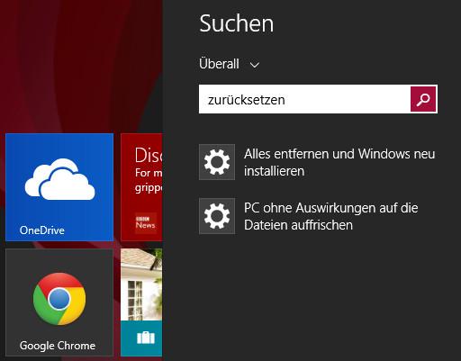 Windows 8 zurücksetzen