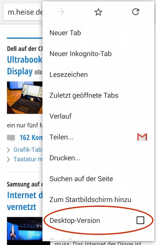 Desktop-Seite Chrome anfordern
