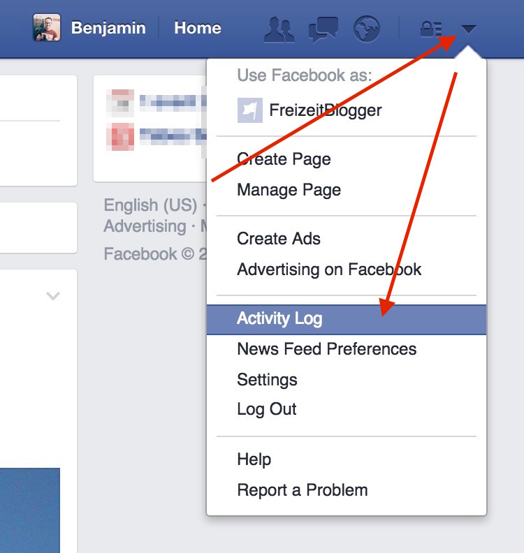 Im Deutschen heißt die Option natürlich Aktivitätenprotokoll (Bild: Facebook Screenshot).
