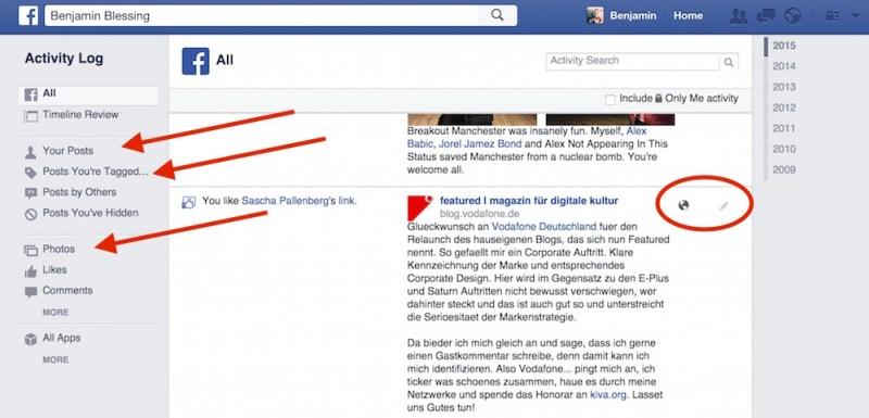 Wie in der App stehen auch im Browser verschiedene Filter zur Verfügung (Bild: Facebook Screenshot).