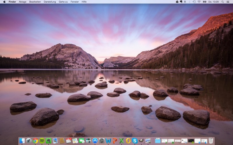 Desktop von OS X Yosemite (Bild: Screenshot)