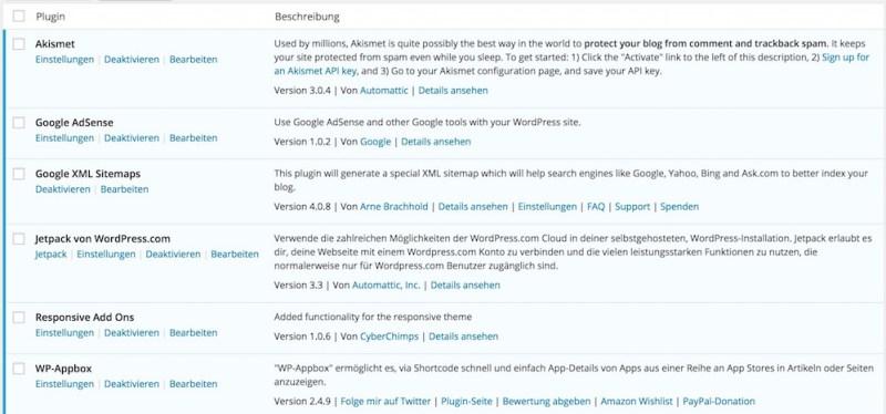 WordPress Plugins auf RandomBrick.de in der Übersicht (Bild: Screenshot).