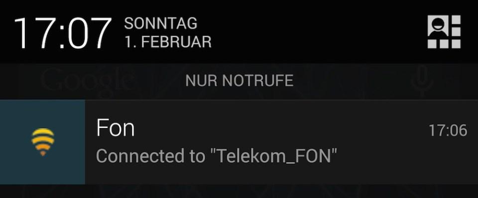 Die Verbindung erfolgt automatisch, wenn ein WLAN in Reichweite ist (Bild: Screenshot).