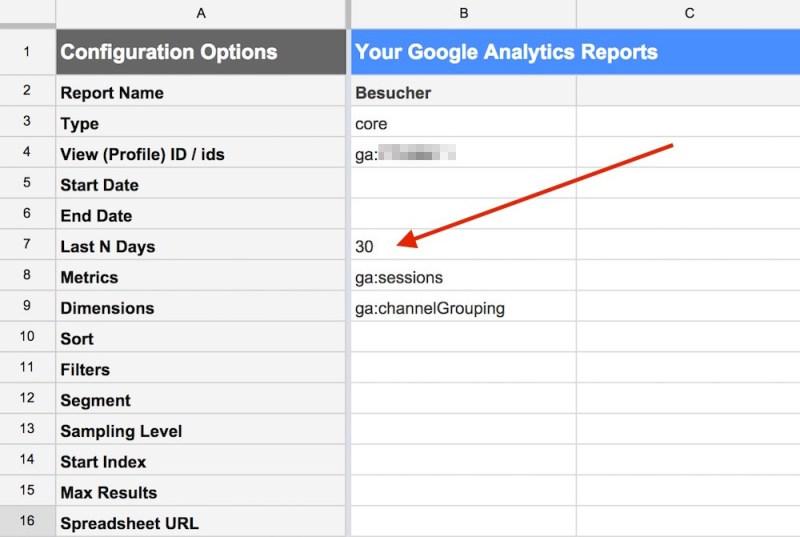Innerhalb Google Tabellen kann der Bericht weiter angepasst werden (Bild: Screenshot Google Tabellen).