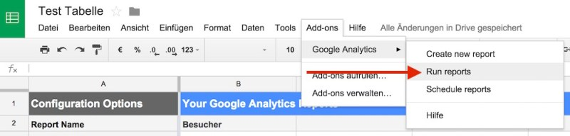 Abschließend muss Google Tabellen gesagt werden, dass jetzt die neuen Daten aus Google Analytics gezogen werden sollen (Bild: Screenshot Google Tabellen).
