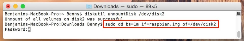 Passwort Eingabe in macOS Terminal (Bild: Screenshot macOS).