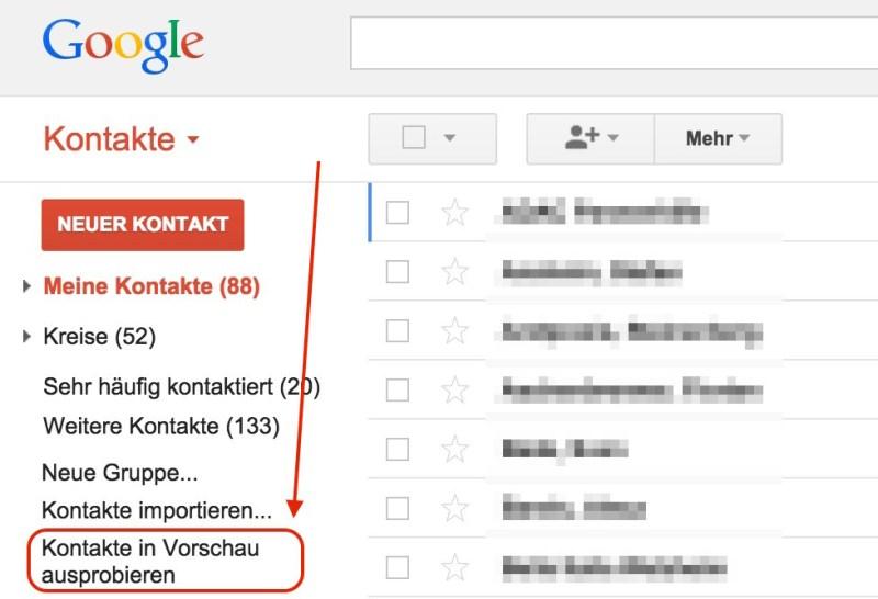 Die neue Google Kontaktverwaltung aktivieren (Bild: Google Kontakte).