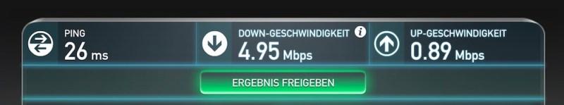 Speedtest auf dem MacBook über das Raspberry Pi 2 WLAN (Bild: Screenshot Speedtest.net).