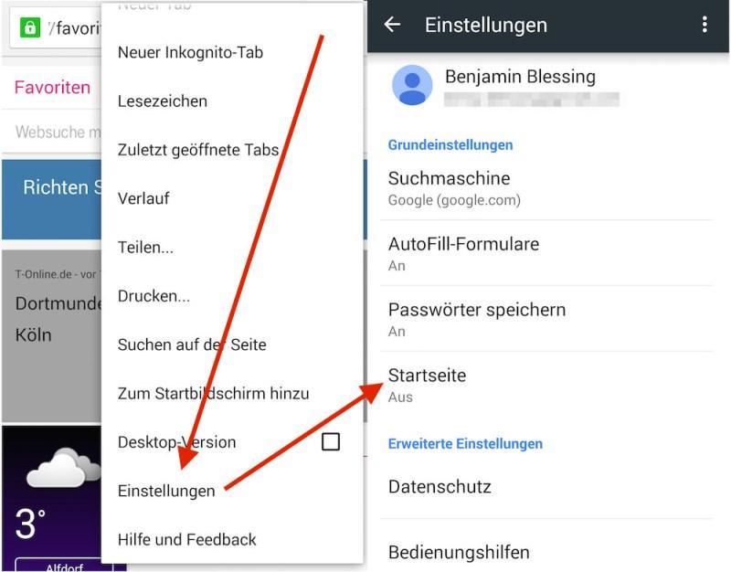In den Einstellungen befindet sich die Option Startseite (Bild: Screenshot Chrome).