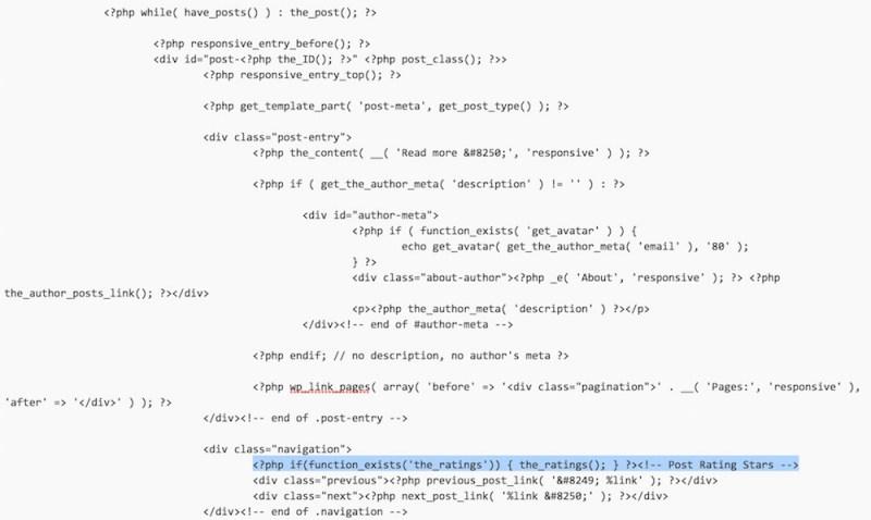Integration des WP-PostRatings Code (Bild: Screenshot WordPress).