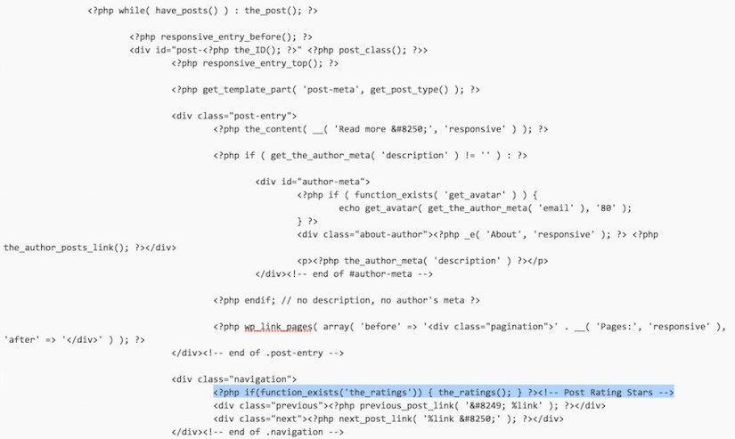 Integration des WP-PostRatings Code (Bild: Screenshot WordPress).