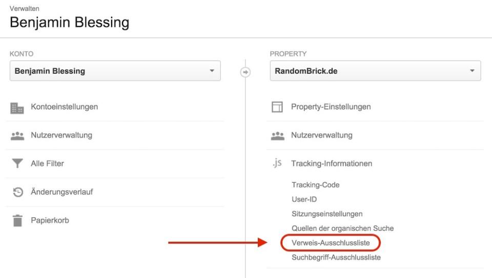Google Analytics Verweisausschluss hinzufügen (Bild: Screenshot Google Analytics).