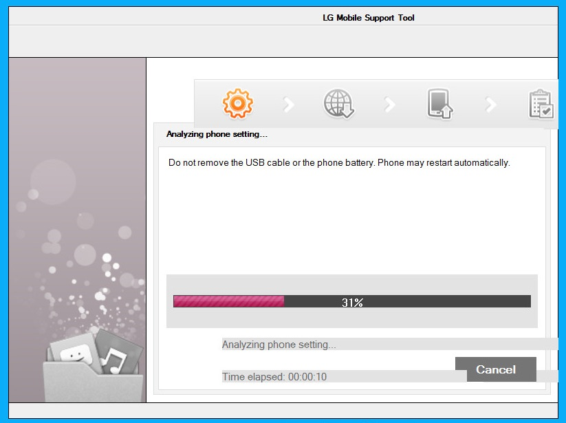 LG Support Tool beim Flashen (Bild: Screenshot LG Support Tool 2014).