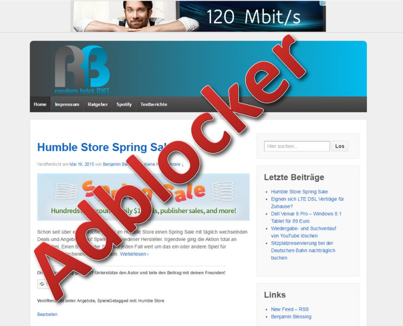 RandomBrick.de ohne Adblocker (Bild: Copyright Benjamin Blessing).