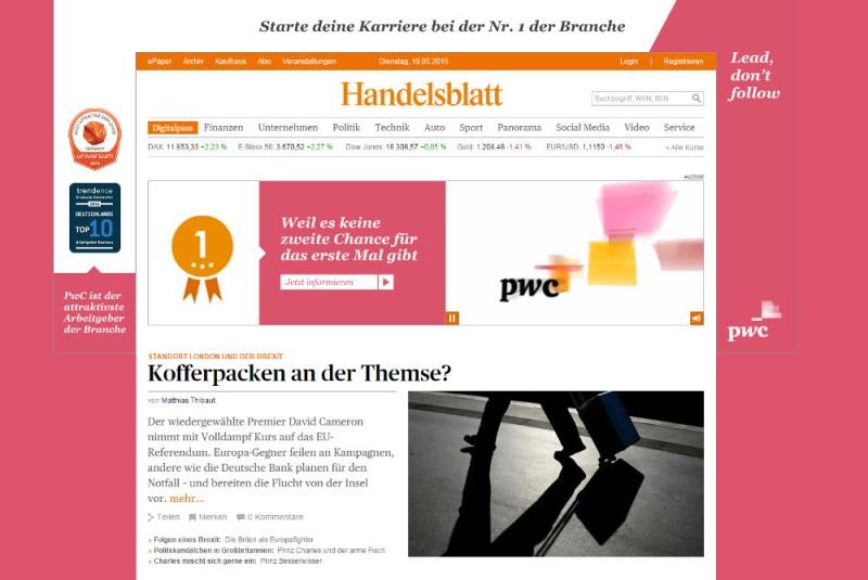 Das Handelsblatt mit Werbung (Bild: Screenshot Handelsblatt.com).