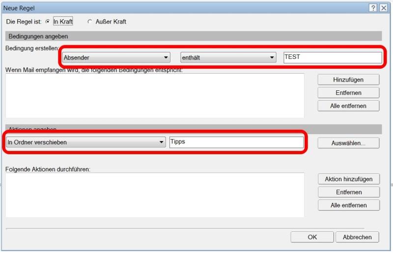 Lotus Notes E-Mail Regel Ordner verschieben (Bild: Screenshot Lotus Notes 9).
