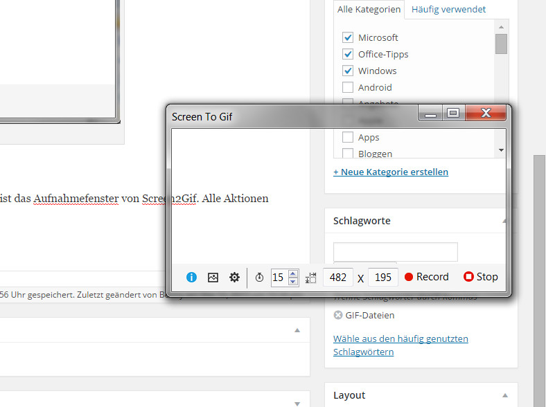 Screen2Gif Aufnahme Fenster (Bild: Screenshot Screen2Gif).