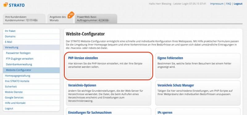 PHP-Version einstellen auswählen (Bild: Screenshot Strato.de).