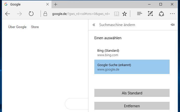 Microsoft 10 Edge Suchmaschine ändern