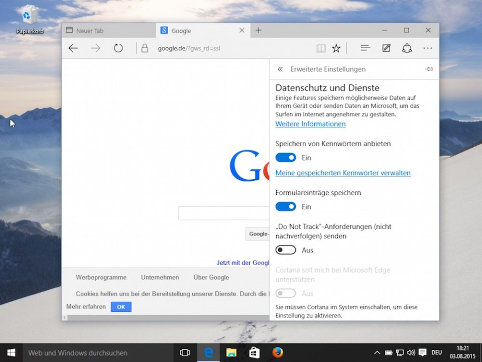"Microsoft Edge ""Do Not Track"" aktivieren in Windows 10 (Bild: Screenshot Windows 10)."