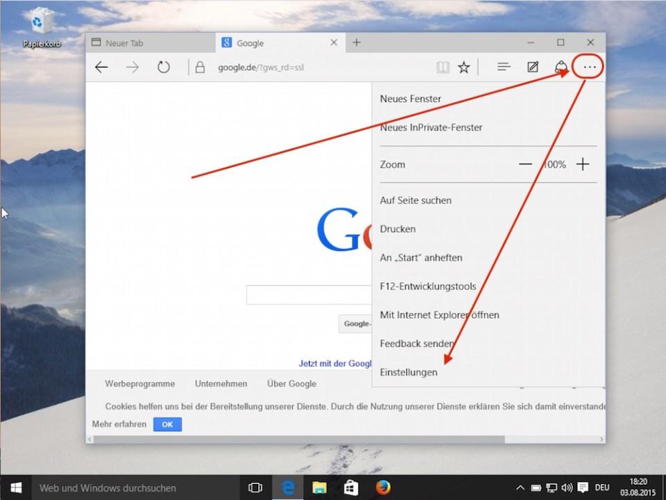 Microsoft Edge Einstellungen öffnen (Bild: Screenshot Windows 10).