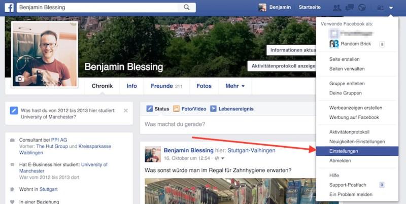 Die Facebook-Einstellungen sind über den kleinen Pfeil oben rechts zu öffnen (Bild: Screenshot Facebook).